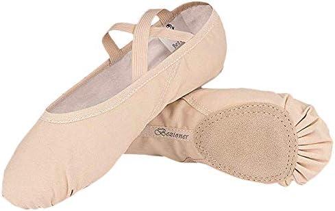 BaojunHT Womens Canvas Ballet Dance Shoes Soft Flat Gymnastics Dancing Yoga Slippers