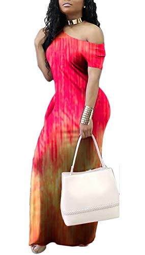 (GLUDEAR Women's Casual Short Sleeve Tie Dye Striped Tunic Long Maxi Homecoming Dress,Red Stripes,L)