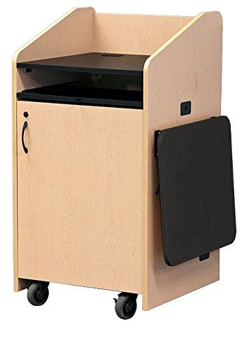 bile Lectern with Keyboard Shelf & Flip up Side Shelf (), Stl Storm Gray (Deluxe Lectern)