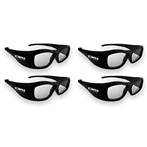 True Depth 3D® RECHARGEABLE Glasses for Panasonic 3D TVs! Compatible with Infrared and Bluetooth! (4 Pairs)