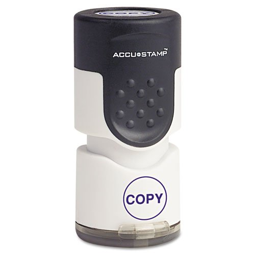 - ACCUSTAMPamp;reg; - Accustamp Pre-Inked Round Stamp with Microban, COPY, 5/8amp;quot; dia, Blue - Sold As 1 Each - Built-in Microban antimicrobial protection inhibits the growth of stain and odor causing bacteria.