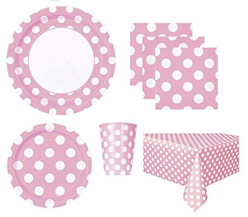 Pink Polka Dot Deluxe Pack for 16 Guests Including - Lunch Plates, Dessert Plates, Cups, Napkins and Table Cover -