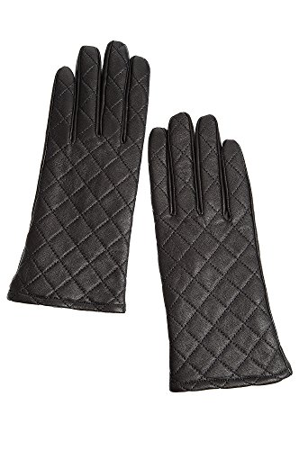 Lined Quilted Gloves (Women's Fleece-Lined Quilted Lambskin Leather Gloves, BLACK, Size MEDIUM)