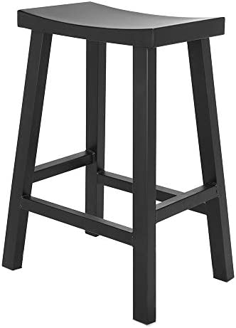 Renovoo Steel Saddle Seat Counter Stool, Commercial Quality, Matte Black Powder Coated Finish, 24 inches Seat Height, Indoor and Porch Use, 1 Pack