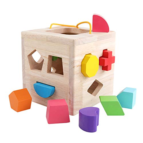 GEMEM Shape Sorter Toy My First Wooden 12 Building Blocks Geometry Learning Matching Sorting Gifts Didactic Classic Toys for Toddlers Baby Kids 1 2 3 Years Old from GEMEM