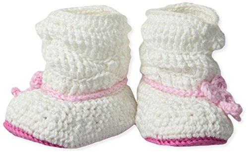 - Jefferies Socks Baby Girls' Newborn Slouch Boot Crochet Bootie, White/Pink,