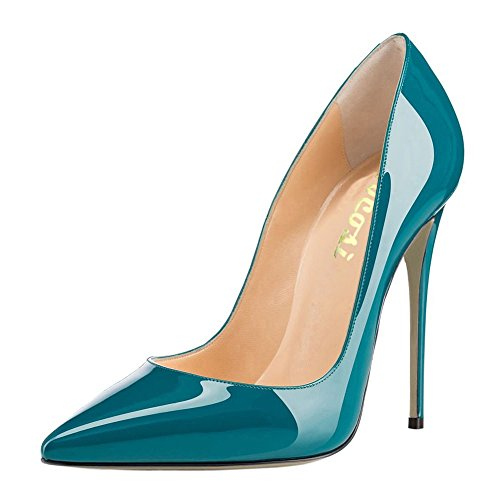 (VOCOSI Women's Sexy Point Toe High Heels,Patent Leather Pumps,Wedding Dress Shoes,Cute Evening Stilettos Teal 9.5 US)