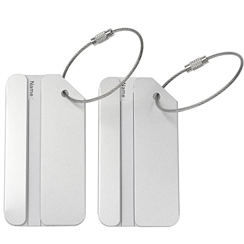 KLOUD City ® 2 pcs Metal Travel Accessories Square-shape Luggage tag / Identifier with Name Card (Two silver)