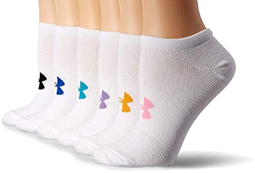 Under Armour Women`s Essential Charged Cotton No Show Liner Socks (6 Pack) (White(U2264R6-981)/Pale Pink, Medium)