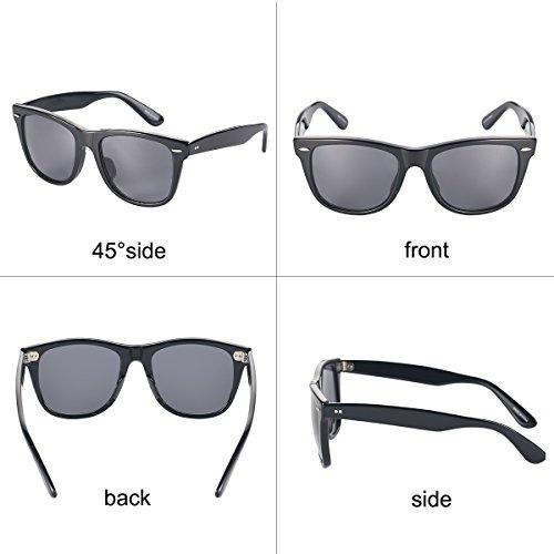 Full Lunettes pour YUFENRA de lentille Protection Vintage Color cadre Soleil UV400 et Retro Hommes Femmes noir de Style noir xIRw1q4wd