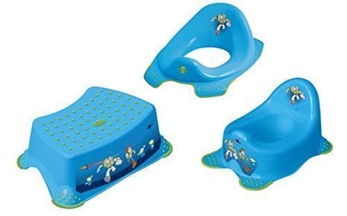 Lot de 3 Disney Toy Story Bleu Si/ège Pot de Toilette Tabouret Toilette Formateur Pot