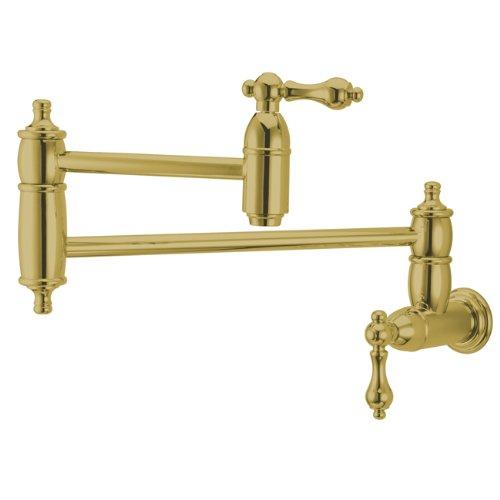 Kingston Brass KS3102AL Restoration Pot Filler, Polished Brass (Polished Pot Filler Brass Faucet)