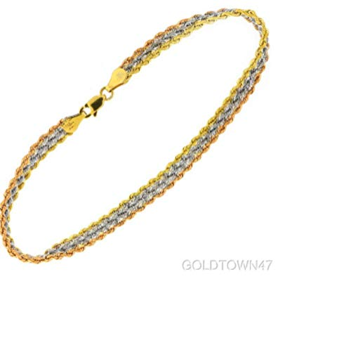 Triple Rope Chain (10kt Yellow + Rose + White Gold Triple Strand Rope Chain Ladies Fancy Bracelet)