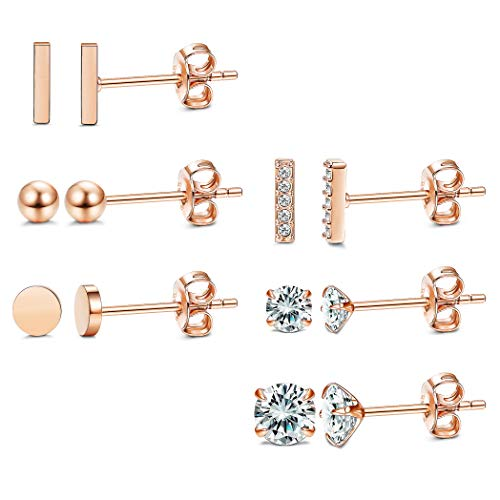 LOYALLOOK 6 Pairs 925 Sterling Silver Bar Stud Earrings Set Cubic Zirconia Tiny Ball Earrings for Men Women Simple Chic Earrings Set ()