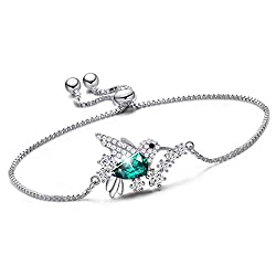 Sterling Silver Crystals Hummingbird Bracelet for Women