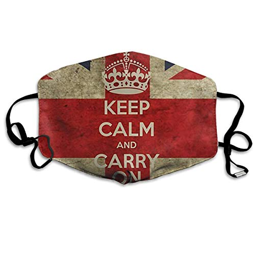 Keep Calm and Carry On with UK Flag Printed Mouth Masks Unisex Anti-dust Masks Reusable Face Mask ()