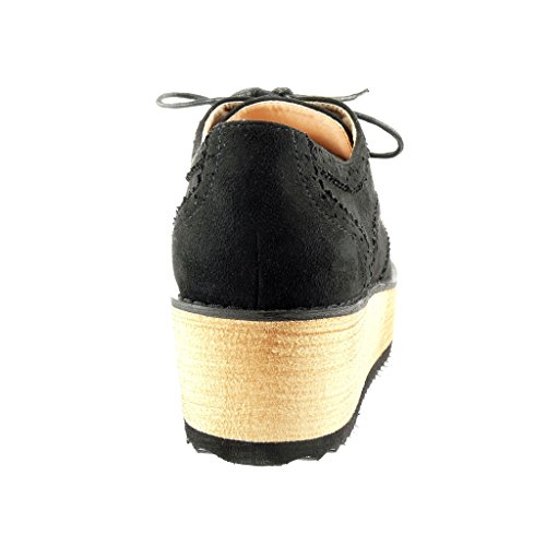 Angkorly Mode Femme Noir Perforée Talon Richelieu Cm 5 Plateforme Chaussure Compensé Crwx5qIrv