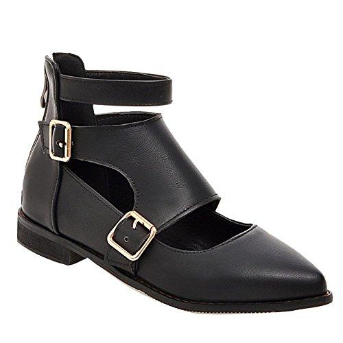Mee Shoes Damen chunky heels Niedrig Reißverschluss Pumps Schwarz