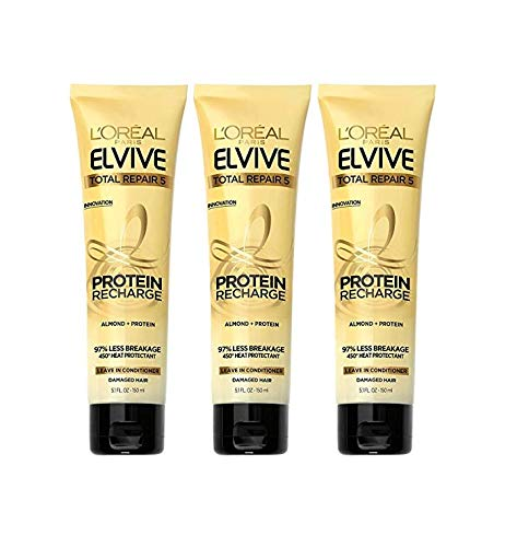 L'Oreal Paris Elvive Hair Treatment - Total Repair 5 - Protein Recharge Leave-In Conditioner - Net Wt. 5.1 FL OZ (150 mL) Per Tube - Pack of 3 Tubes
