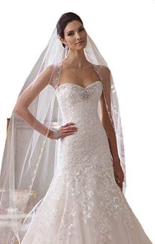 - Passat Ivory 1 Tier 2M Floral Beaded Scallop Edge Cathedral Bridal Veil wedding veils with crystal 224