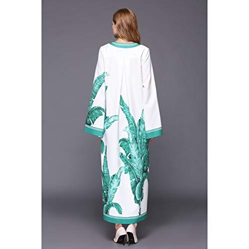 Mujeres Delgado Size Larga Retro Xl color Suéter Green Manga Floral Vestidos Floja Para Vintage Estampado qEaBUvv
