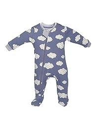 Zippy Jamz - Sleepy Clouds Blue - Organic Cotton Footed Sleeper