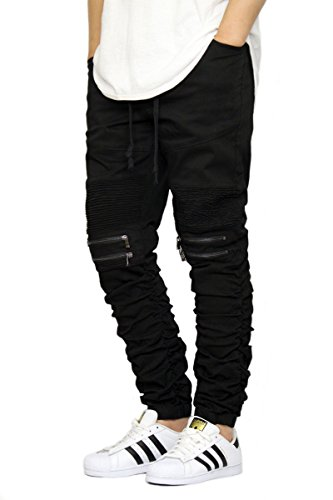 Victorious Men's Twill Biker Jogger Pants with Shirring Detail S-3XL