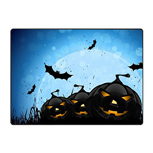 stahhn Entrance Rubber Rug Evil Halloween Pumpkin Indoor Doormat Welcome Floor Mat Home Decor 60x39 in]()
