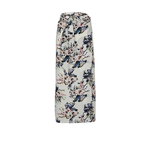 Mengonee Les Femmes de Split en Vrac Bandage Lacets Jupe Taille Haute Boho Floral Jupe Longue 1#