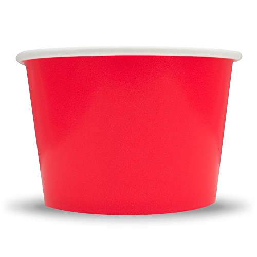 Red Paper Ice Cream Cups - 8 oz Dessert Containers Perfect For Yummy Treats - Many Sizes to Make Your Party Amazing! Fast Shipping! Frozen Dessert Supplies - 50 Count -