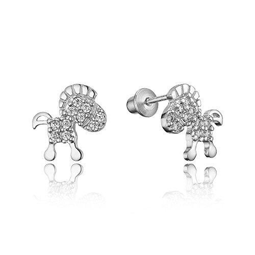 Sterling Rhodium Zirconia Screwback Earrings product image
