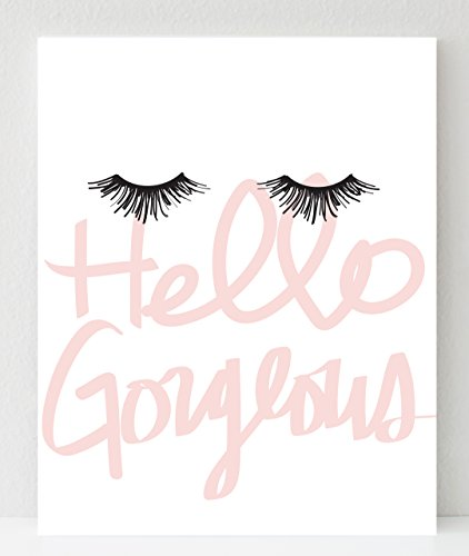 Hello Gorgeous 8x10 Print, Eyelash Art Makeup Poster, Makeup Print, Dorm Decor,...