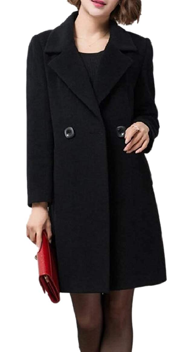 Black pujinggeCA Womens Double Breasted Outwear Wool Blend Trench Coat Pea Coat
