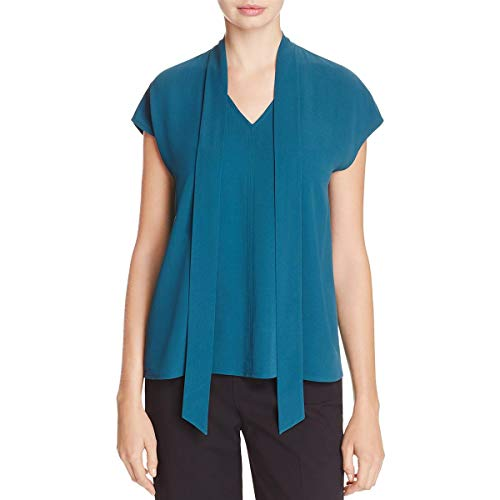 Eileen Fisher Long Silk - Eileen Fisher Womens Silk Neck Tie Blouse Blue XL
