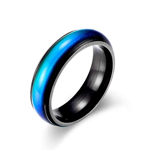 Ello Elli 6MM Color Changing Stainless Steel Mood Ring (Black