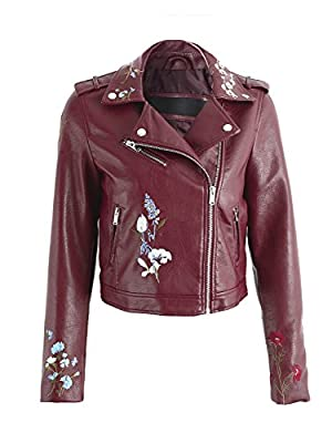 BerryGo Women's Floral Embroidery Motorcycle Biker Leather Jacket