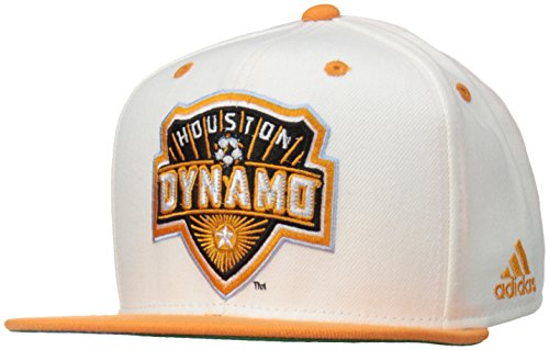 MLS Houston Dynamo Men's Team Logo Two Tone Flat Brim Snapback Hat, One Size, White Logo Two Tone Wool