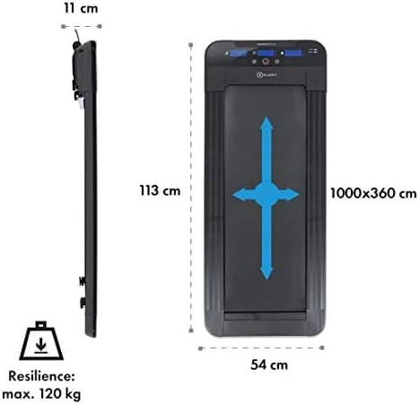 Vitesse 0,8 /à 6km//h Charge maximale: 120kg Contr/ôle par t/él/écommande Surface de course : 360 x 1000 cm Tapis de Course 350 W Roulettes Workspace Go Light Black Edition Avec ou sans support tablette