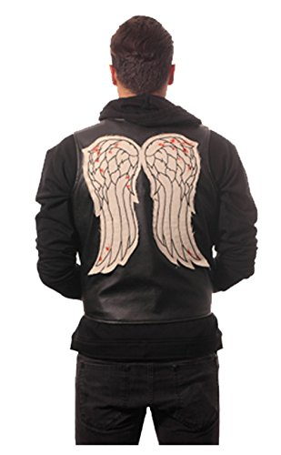 Walking Dead Men's Big Faux Leather Satin-Lined Embroidered Wings Vest, Black, 2X-Large