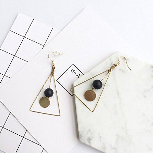 - Elegant Minimalist Design Geometry Triangle Diamond Necklace Pendant Chain Earrings Earring Ear Dangler Women Girls (Volcanic Stone Ear Hook Section