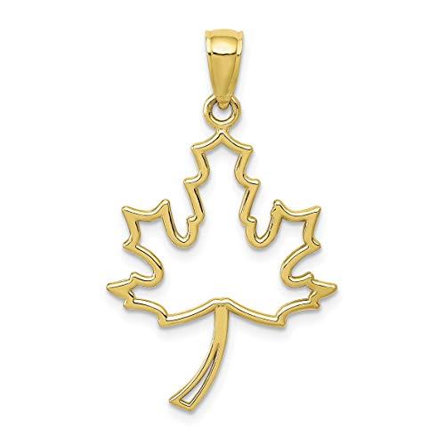 10k Yellow Gold Open Maple Leaf Pendant 29x21mm (Store British Ontario)