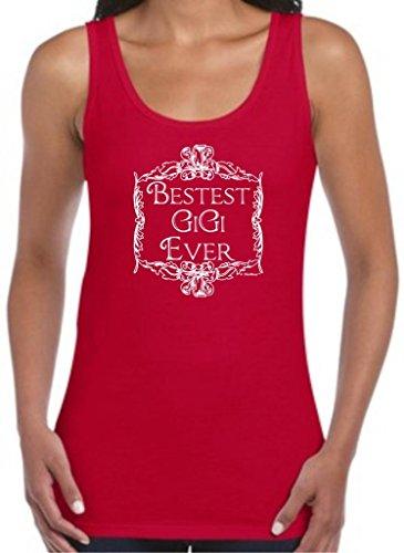 Bestest Best Gigi Ever, Grandma Gift Cute Juniors Tank Top Medium Cherry Red