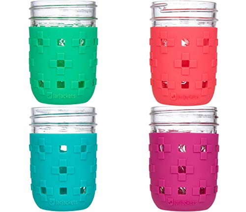 JarJackets Silicone Mason Jar Protector Sleeve - Fits 8oz REGULAR mouth Jelly Jars (4, Multicolor)]()