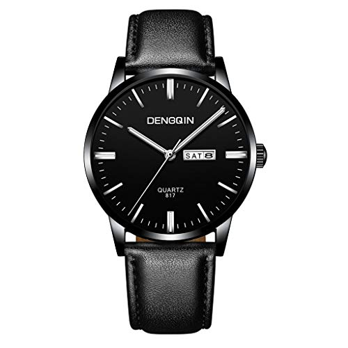 WoCoo Classic Design Retro Leather Stainless Dial Quartz Sport Wrist Watch - D ()