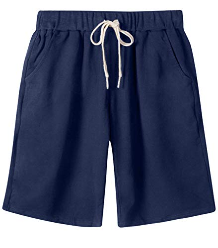 HOW'ON Women's Soft Knit Elastic Waist Jersey Casual Bermuda Shorts with Drawstring Navy M