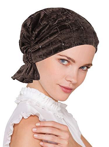 Abbey Cap Womens Chemo Hat Beanie Scarf Turban Headwear for Cancer Stretch Velour Dark Brown -