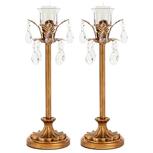 Amalfi Décor Madeleine 2-Piece Vintage Gold Candelabra Set, Votive Candle Taper Unity Candlestick Holder Accent Stand (Holder Vintage Candlestick)