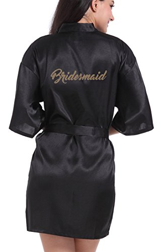 Bride Silk - DF-deals Women's Satin Kimono Robe for Bridesmaid and Bride Wedding Party Getting Ready Short Robe with Gold Glitter