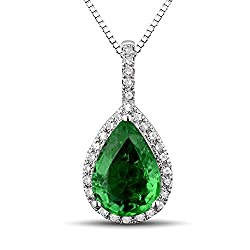 White Gold Pear Shape Emerald Diamond Pendant