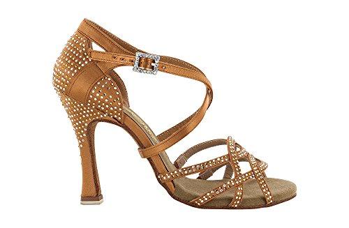 Scarpa da Ballo sandalo con 4 Fasce Incrociate Full Strass Ambra E Aurora Boreale tc 10 cm